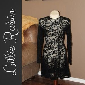 Lillie Rubin   Sexy Black Lace Embroidered Dress